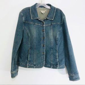 AMI Distressed Denim Blue Jean Jacket Size XL